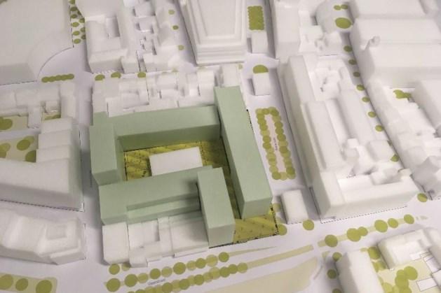 """""""Een alweer achterhaalde maquette van mogelijke bouw in Schinkel-Zuid, waarvan critici de volumes te massief vonden. Afbeelding: Gemeente Heerlen"""""""