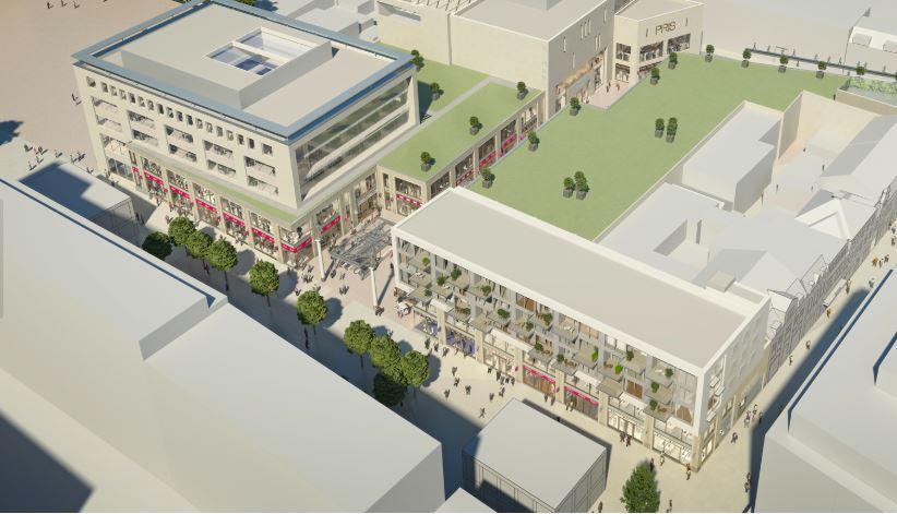 """""""Het ontwerp voorziet in een open, hofachtige passage met een plein."""" - AGS-architecten"""