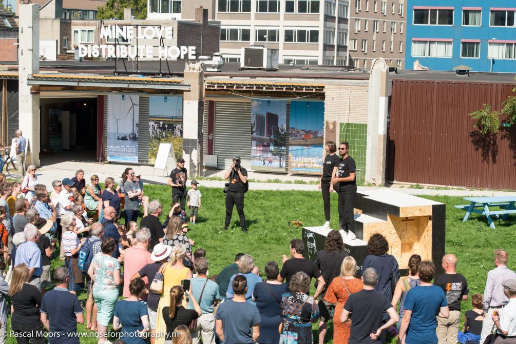 De Stadmaakweek in Schinkel-Zuid Heerlen gaat van start met de lancering door collectief PANDA van de HUBHUB! podcast - foto Pascal Moors IBA Parkstad