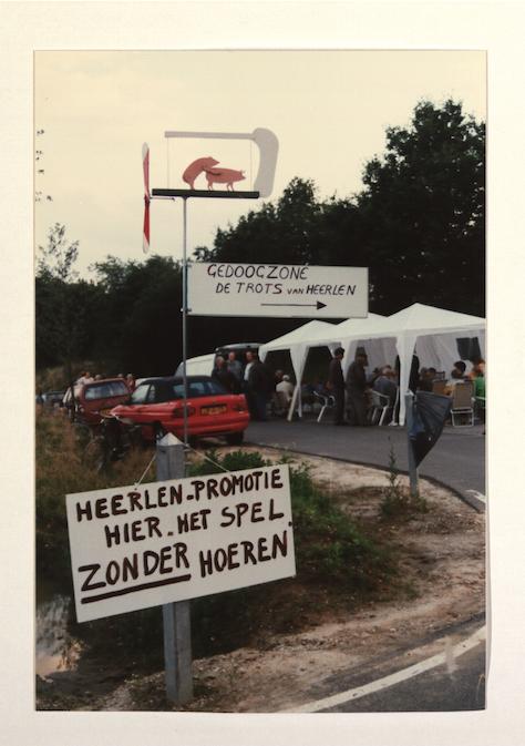 Protestactie van de bewoners van Palemig en Heksenberg tegen de aanleg van een gedoogzone.